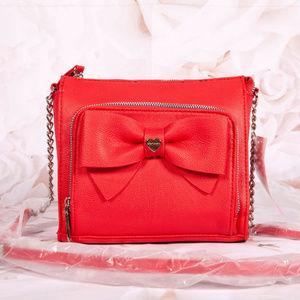 Betsey Johnson Red Bow Crossbody Bag Purse